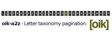 oik-a2z – Letter taxonomy pagination